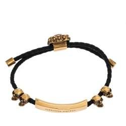 Alexander McQueen Crystal Skull Gold Tone Leather Adjustable Bracelet