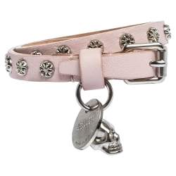Alexander McQueen Light Pink Leather Skull Wrap Bracelet