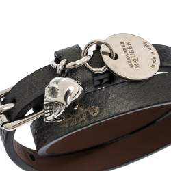 Alexander McQueen Skull Charm Leather Silver Tone Double Wrap Bracelet