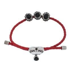 Alexander McQueen Crystal Heart Charm Braided Leather Adjustable Friendship Bracelet