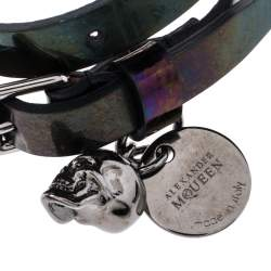 Alexander McQueen Metallic Oil Slick Leather Skull Charm Double Wrap Bracelet