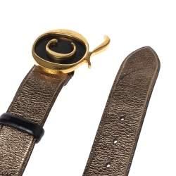 Alexander McQueen Metallic Bronze Leather Logo Buckle Belt Size 90 CM