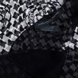 Alexander McQueen Black & White Skull Print Silk Scarf