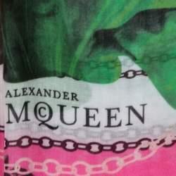 Alexander McQueen Pink Panther Skull Print Modal Silk Scarf