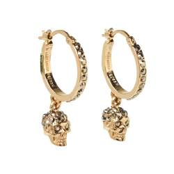 Alexander McQueen Skull Motif Crystal Embellished Gold Tone Drop Earrings