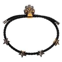 Alexander McQueen Leather Skull Motif Crystal Embellished Two Tone Bracelet