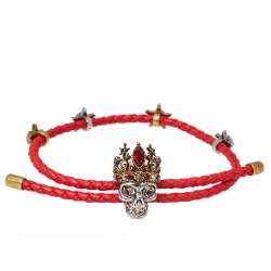 Alexander McQueen Crowned Skull Motif Crystal Two Tone Leather Bracelet