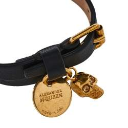 Alexander McQueen Skull Charm Black Leather Gold Tone Double Wrap Bracelet