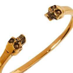Alexander McQueen Twin Skull Motif Gold Tone Open Cuff Bracelet