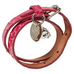 Alexander McQueen Pink Snakeskin Double Wrap Skull Bracelet