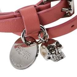 Alexander McQueen Pink Leather Skull Charm Double Wrap Bracelet