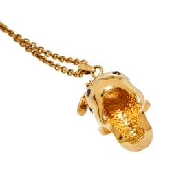 Alexander McQueen Honey Bee Crystal Skull Pendant Necklace