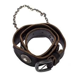 Alexander McQueen Black Leather Chain Detail Buckle Belt 75CM