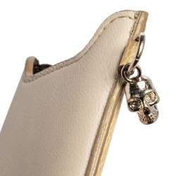 Alexander McQueen Cream White/Grey Leather and Croc Embossed Leather Phone Case