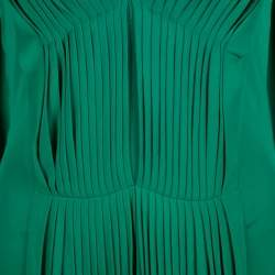 Alexander McQueen Emerald Green Knit Pleated Sleeveless Midi Dress M