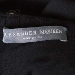 Alexander McQueen Black Stretch Wool Embellished Neck Sleeveless Bodycon Dress XS