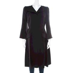 Alexander McQueen Black Pleated Coat Dress M