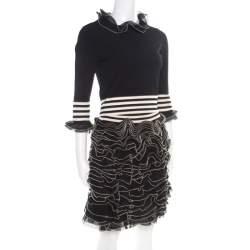 Alexander McQueen Monochrome Knit Ruffle Detail Top and Mini Skirt Set S/M