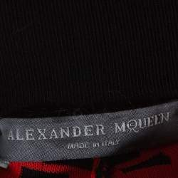 Alexander McQueen Black and Red Printed Knit Jogger Pants S