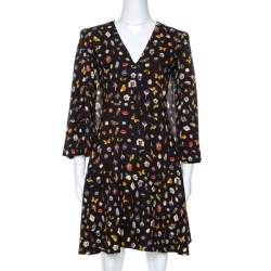 Alexander McQueen Brown Obsession Print Crepe Cape Sleeve Dress S