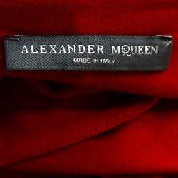Alexander McQueen Red Stretch Knit Sleeveless Fitted Dress S