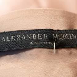 Alexander McQueen Pale Pink Silk Mandarin Collar Detail Draped Shirt M