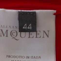 Alexander McQueen Red Wool Jersey Long Sleeve Flared Dress M