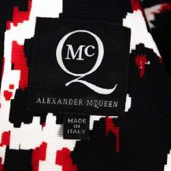 McQ by Alexander McQueen Red & Black Print Sleeveless Bodycon Dress S