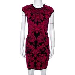Alexander McQueen Pink & Black Floral Jacquard Bodycon Dress M