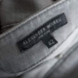 Alexander McQueen Light Grey Denim Silk Insert Detail Jeans M