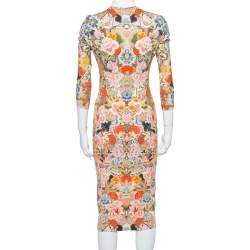 Alexander McQueen Multicolor Floral Print Jersey Fitted Dress S