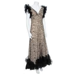 Alexander McQueen Black & Cream Ruffled Lace Gown M
