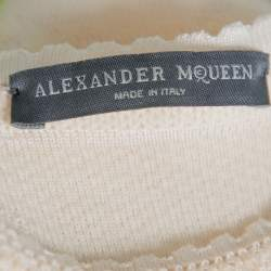 Alexander McQueen Cream Jacquard Knit Fitted Dress S