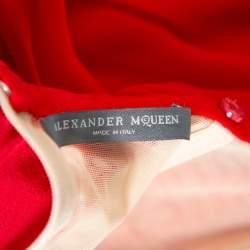 Alexander McQueen Red Chiffon Bustier Detail Strapless Evening Gown M