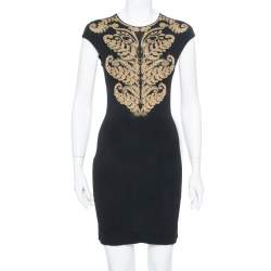 Alexander McQueen Black Floral Pattern Knit Sleeveless Bodycon Dress S