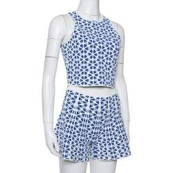 Alexander McQueen White & Navy Blue Embossed Floral Jacquard Crop Top and Short Set S