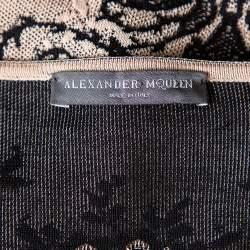 Alexander McQueen Beige & Black Jacquard Knit Sheath Dress M