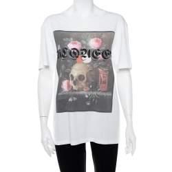 Alexander McQueen White Still Life Print Cotton Jersey T-Shirt L