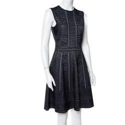 Alexander McQueen Navy Blue Lace Knit Full Circle Sleeveless Dress M