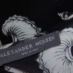 Alexander McQueen Black Shell Printed Silk Oversized Mini Dress M