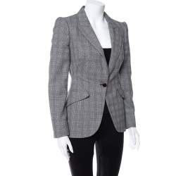 Alexander McQueen Grey Wool Prince of Wales Check Patterned Blazer S