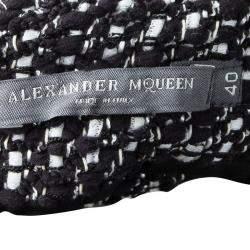 Alexander McQueen Monochrome Tweed Slit Detail Skirt S
