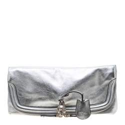 Alexander McQueen Silver Skull Padlock Leather Studded Fold Over Clutch