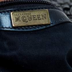 Alexander McQueen Metallic Navy Blue Woven Leather Novak Hobo