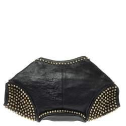 Alexander McQueen Black Leather Studded De Manta Clutch