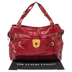 Alexander McQueen Red Patent Leather Satchel
