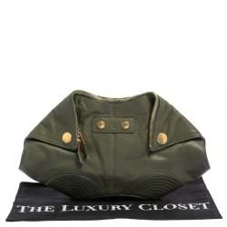 Alexander McQueen Olive Green Leather Medium Faithful De Manta Clutch