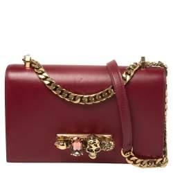 Alexander McQueen Bordeaux Leather Knuckle Duster Shoulder Bag