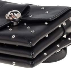 Alexander McQueen Black Leather Twin Skull Studded Crossbody Bag