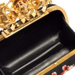 Alexander McQueen Black Satin Floral Embroidered Skull and Unicorn Knuckle Clutch